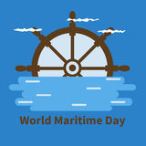 Banner for World Maritime Day with wheel, water, clouds Royalty Free Stock Images