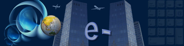 Banner Worldwide e-commerce Stock Photo