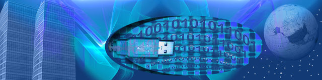 Banner WW connections and binary. This blue banner has a soft abstract background with transparent layers. Blended with the background are skyscrapers, an usb Royalty Free Stock Images