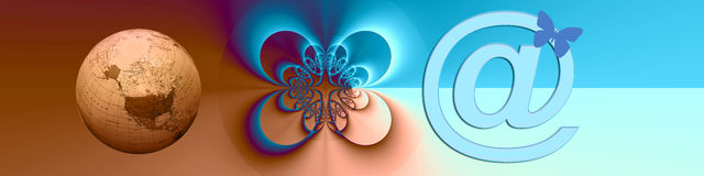 Banner WW Internet Connections. This banner has a creative and interesting center with connecting shapes. The @ and globe are symbolic for world wide internet Royalty Free Stock Photos