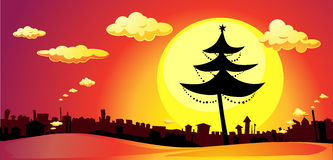 banner with xmas tree and city in sunset - horizontal vector stock illustration