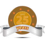 Banner for 25 years service. Gold banner with crown and number 25 inscribed in the center and silver ribbon with text 'years' below it, white background Royalty Free Stock Photography