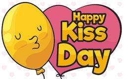 Cute Balloon Smooching you in Kiss Day Celebration, Vector Illustration. Banner with a yellow cute balloon with smooch gesture for Kiss Day event with a greeting Stock Photos