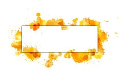The banner on the yellow splashes of watercolor. Stock Image