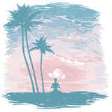 Banner for yoga and meditation practice on the beach. Tropical sunrise, sketch style vector illustration Stock Photography