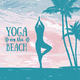 Banner for yoga and meditation practice on the beach. Tropical sunrise, sketch style vector illustration Stock Image