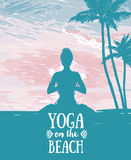 Banner for yoga and meditation practice on the beach. Tropical sunrise, sketch style vector illustration Royalty Free Stock Photography