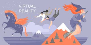 Banner with young people traveling around the fairy world with virtual reality glasses royalty free illustration