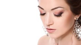 Close-up portrait of young closing eyes woman`s face with clean Royalty Free Stock Photos