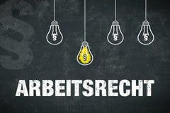 Bannerarbeidsrecht in het Duits Stock Foto's