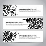 Bannerdekking met abstract hand getrokken patroon Stock Fotografie