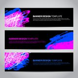 Bannerdekking met abstract hand getrokken patroon Stock Afbeelding