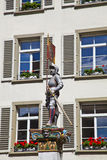 Banneret Fountain, Knight with City's Flag Royalty Free Stock Photography
