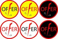 Bannerkortingen met een daling in het embleem-pictogram van prijzenkortingen Stock Afbeeldingen