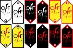 Bannerkortingen met een daling in het embleem-pictogram van prijzenkortingen Stock Foto