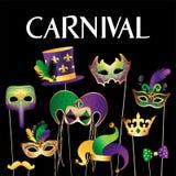 Bannermalplaatje met Gouden Carnaval-Maskers op Zwarte Achtergrond Schitterende Vierings Feestelijke Grens Vector illustratie royalty-vrije illustratie