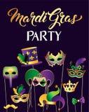 Bannermalplaatje met Gouden Carnaval-Maskers op Zwarte Achtergrond Schitterende Vierings Feestelijke Grens Vector illustratie vector illustratie