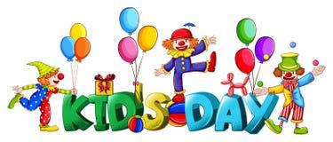 Bannerontwerp met woord kid& x27; s dag vector illustratie