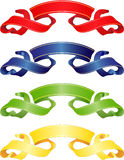 Banners. Of red, yellow, dark blue and green colors Royalty Free Stock Photo