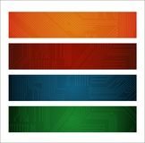 Banners. Four different color ang design banners with circuit patterns Royalty Free Stock Photography
