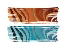 Banners. Isolated brush shape banners with stripes pattern and grunge texture Stock Image