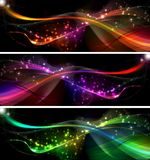 Banners. Neon wave background Set for desing Royalty Free Illustration