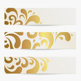 Banners. Vector set: Banners. Abstract compositions with golden pattern Royalty Free Stock Photography