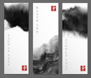 Banners with abstract black ink wash painting in East Asian style. Traditional Japanese ink painting sumi-e. Contains. Hieroglyph - happiness stock illustration