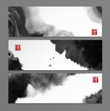 Banners with abstract black ink wash painting in East Asian style. Traditional Japanese ink painting sumi-e. Hieroglyph - clarity royalty free illustration