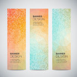Banners with abstract colorful geometric dotted pattern and background Royalty Free Stock Photos