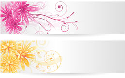 Banners with abstract flowers Stock Photo