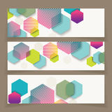 Banners with abstract geometricbackground from bright cells Stock Photo