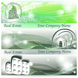 Banners with abstract houses and skyscrapers. In green color Stock Photos
