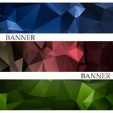 Banners with abstract multicolored polygonal mosaic background. Royalty Free Stock Images