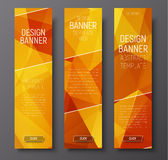 Banners with abstract polygonal background gold Royalty Free Stock Image