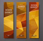 Banners with abstract polygonal background gold Royalty Free Stock Photo