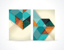 Banners with abstract retro geometric  pattern with triangles. Vector Illustration Royalty Free Stock Image