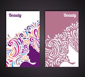 Banners with abstract woman silhouette. Royalty Free Stock Image