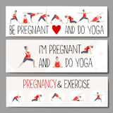 Banners for advertising pregnant yoga. Stock Photos
