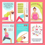 Banners for advertising pregnant yoga. Stock Photography