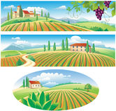 Banners with the agriculture landscape Royalty Free Stock Images