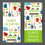 Banners with agriculture objects. Instruments for cultivation, plants seedling process, stage plant growth, fertilizers Royalty Free Stock Photography