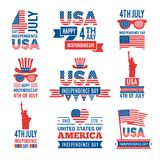 Banners of america independence day. Vector labels at 4 july royalty free illustration
