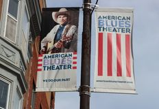 Banners for American Blues Theater, Chicago Off-Loop Theater Royalty Free Stock Photography