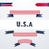 Banners with American flag colors. Banners with American flag colors and stars and stripes with U.S.A typography. Vector Stock Photo