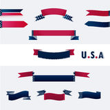 Banners with American flag colors. Banners with American flag colors and stars and stripes with U.S.A typography. Vector Royalty Free Stock Images
