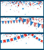 Banners with American flags and stars. White banners set with American flags and stars. Vector paper illustration Stock Photos