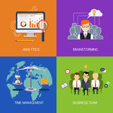 Banners Analytics, brainstorming, time is money and business team. Vector flat Stock Photos
