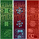 Banners with ancient American ornaments Stock Images