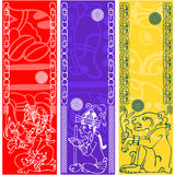 Banners with ancient American ornaments. Vector banners with ancient American ornaments Royalty Free Stock Photo